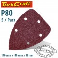 SANDING TRIANGLE VEL SHEET 80 GRIT 140 X 140 X 98MM 5/PACK WITH HOLES