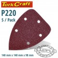 SANDING TRIANGLE VEL SHEET 220 GRIT 140 X 140 X 98MM 5/PACK WITH HOLES