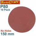 SANDING DISC PSA 150MM 80 GRIT NO HOLE 10/PK