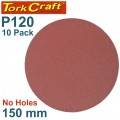 SANDING DISC PSA 150MM 120 GRIT NO HOLE 10/PK