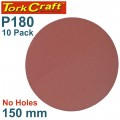 SANDING DISC PSA 150MM 180 GRIT NO HOLE 10/PK