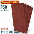 SANDING SHEET ORB 115 X 280MM 50 GRIT NO HOLES 5/PK HOOK AND LOOP