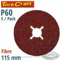 FIBRE DISC 115MM 60 GRIT 5/PACK