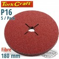 FIBRE DISC 180MM 16 GRIT 5/PACK