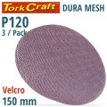 DURA MESH ABR.DISC 150MM HOOK AND LOOP 120GRIT 3PC FOR SANDER POLISHER