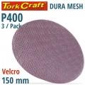 DURA MESH ABR.DISC 150MM VELCRO 400GRIT 3PC FOR SANDER POLISHER