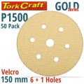 GOLD VELCRO DISC (50 PIECES) 1500 GRIT 150MM X 6+1 HOLES