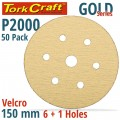 GOLD VELCRO DISC (50 PIECES) 2000 GRIT 150MM X 6+1 HOLES