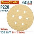 GOLD VELCRO DISC (50 PIECES) 220 GRIT 150MM X 6+1 HOLES