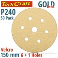 GOLD DISC (50 PIECES) 240 GRIT 150MM X 6+1 HOLES HOOK AND LOOP