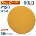 GOLD VELCRO DISC (50 PIECES) 180 GRIT 150MM WITHOUT HOLE