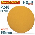 GOLD VELCRO DISC (50 PIECES) 240 GRIT 150MM WITHOUT HOLE
