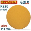 GOLD DISC (50 PIECES) 320 GRIT 150MM WITHOUT HOLE HOOK AND LOOP