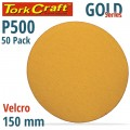 GOLD VELCRO DISC  (50 PIECES) 500 GRIT 150MM WITHOUT HOLE