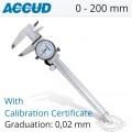 ACCUD DIAL CALIPER WITH CALIBRATION CERTIFICATE 0-200MM