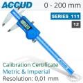 ACCUD DIGITAL CALIPER WITH CALIBRATION CERTIFICATE 0-200MM