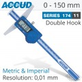 DIGITAL DOUBLE HOOK DEPTH GAUGE 0-150MM/0-6'