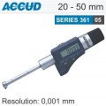DIGITAL THREE POINTS INTERNAL MICROMETER SET WITH SETTING RINGS 20-50M