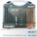 DRILL AND SCREWDRIVER BIT SET 22 PIECE IN CARRY CASE STEEL & MASONRY