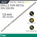 ALPEN PRO HSS 1MM DRILL DIN 338 RN 135 SPLIT POINT PLASTIC WALLET  (1