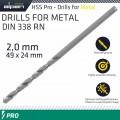 ALPEN PRO HSS 2MM DRILL DIN 338 RN 135 SPLIT POINT PLASTIC WALLET  (1