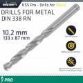 ALPEN PRO HSS 10.2MM DRILL DIN 338 RN 135 SPLIT POINT PLASTIC WALLET