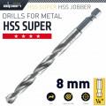 HSS SUPER DRILL BIT HEX SHANK 8MM