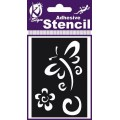 ADHESIVE STENCIL DRAGONFLY AND FLOWER CN 100 X 70MM