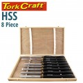 CHISEL SET WOOD TURNING HSS 8 PIECE WOODEN CASE