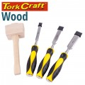 CHISEL SET WOOD 3 PIECE PLUS WOODEN MALLET BLISTER