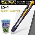 OLFA 24 PIECE ES-1 ASSORTED COLOURS IN PLASTIC BUCKET