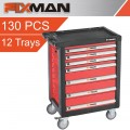 FIXMAN 7 DRAWER ROLLER CABINET ON CASTORS WITH 130PC OF STOCK