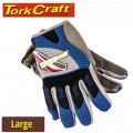 MECHANICS GLOVE LARGE SYNTHETIC LEATHER PALM AIR MESH BACK BLUE