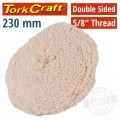 DOUBLE SIDED WOOL BUFF 9' 230MM WITH 5/8 THREAD