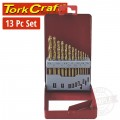 DRILL BIT SET 13PCE TIN. COATED METAL CASE