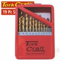 DRILL BIT SET 19PCE TIN. COATED METAL CASE