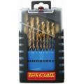 19 PCS FULLY GROUND TIN COATED DRILL SET IN ROSE GRIP BOX
