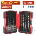 MASONRY DRILL BIT SET 16PC 3 - 16MM IN PLASTIC CASE
