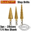 STEP DRILL SET 3PCE IN BLISTER