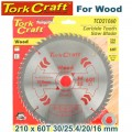 BLADE TCT 210 X 60T 30/1/20/16 GENERAL PURPOSE CROSS CUT