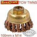 WIRE CUP BRUSH N/SPARK TWISTED 100MMXM14 BULK